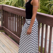 Daydream Believer Ivory And Black Striped Maxi Skirt