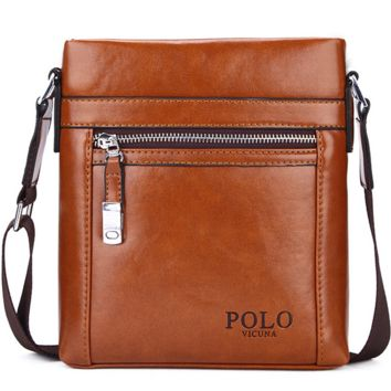POLO Unique Buckle Design Irregular Cover Open Mens Messenger Bag Business Men Crossbody Bag Leather Man Bag Hot