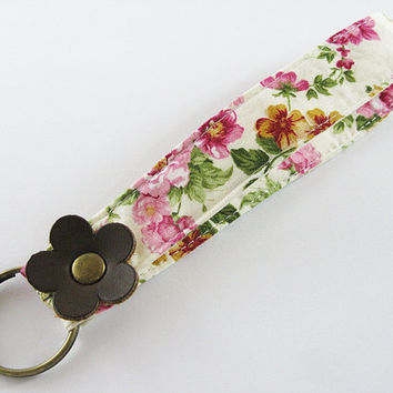 Fabric Key Chain, Fabric Wristlet Key Fob, Fabric Keyring, Keychain Wristlet , Floral Fabric With Brown Leather Flower