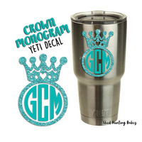 Glitter Princess Crown Monogram Decal Yeti Tumbler Decals | 20 colors to pick from!