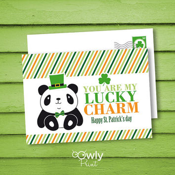 Printable Panda ST PATRICKS Day PostCard. 2 sided  You are my lucky charm postcard, Ready to print st patricks day card