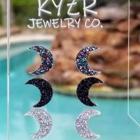 Moon earring set- Holographic Silver/ Rainbow and Black glitter Moon stud set