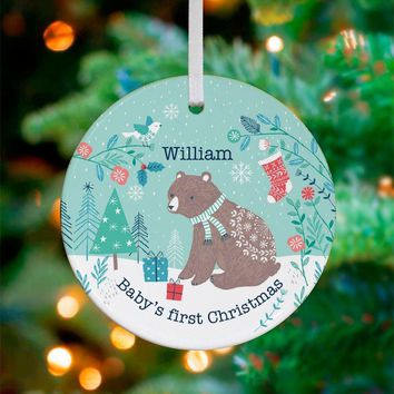 Winter Bear - Blue ~ Ceramic Ornament