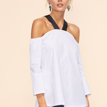 White Contrast Cold Shoulder Top