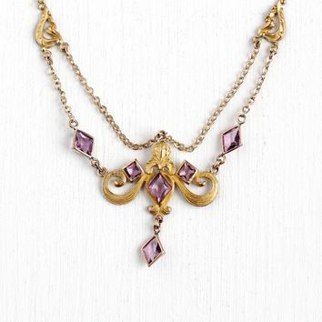 Antique Festoon Necklace - Art Nouveau 10k Rosy Yellow Gold Filled Purple Glass Stone Drop - 1910s Simulated Amethyst Layered Flower Jewelry