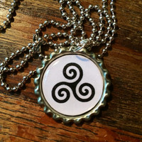 Teen Wolf Triskelion symbol bottlecap necklace