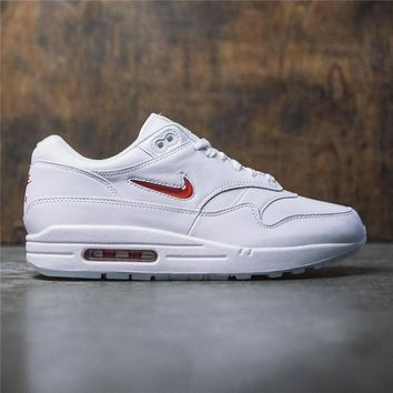 Nike Air Max 1 Premium SC  White With Small Hook Women Men Sneakers  Red Hook