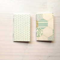 2 Tiny Journals Set, Teal and Blue Journals, Jotters, Mini Journals, Small Notebooks, Geometric - Set of 2