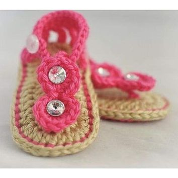 Crochet Sandals Hot Pink Baby Shoes