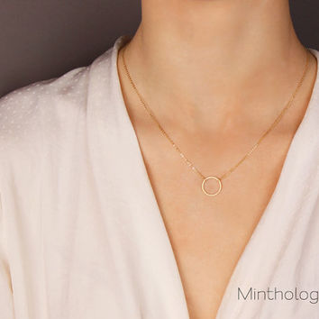 Karma Open Circle Necklace N011 / gold silver minimal open circle link round delicate friendship bridesmaids gift