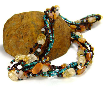 Multistrand Gemstone Necklace Citrine Gemstone by AnandaBijoux