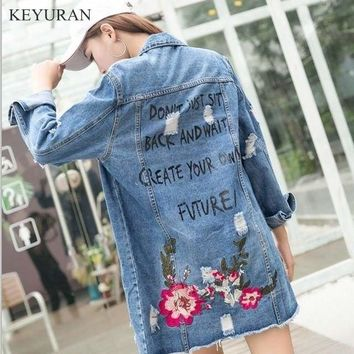 Floral Embroidered Vintage Denim Jacket