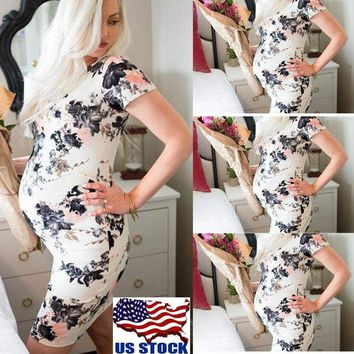 Women's Summer Pregnant Short Sleeve Dress Casual Nursing Maternity Clothes USA