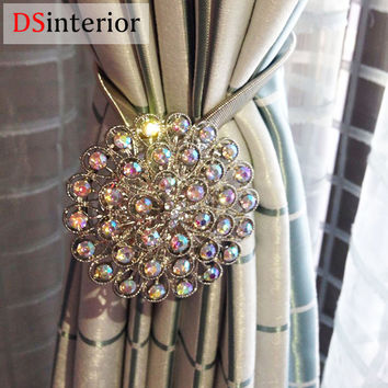 DSinterior 1pc Magnetic Curtain Tie Backs crystal Flower Magnetic Holdbacks Retractable Window Curtain Clips For Home Decorarion