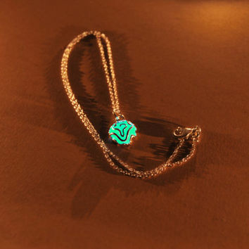 Glow in the Dark Jewelry - Aqua Glowing Necklace - Flower Pendant - Gifts for Her - Birthday Gift