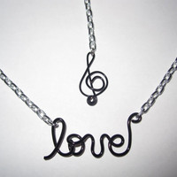 Love for Music Chain Necklace Music Note Charm Black