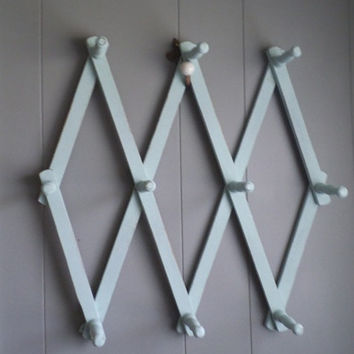 Vintage ~ Duck Egg Blue ~ Expandable Peg Rack ~ Cottage Organizer ~ Entryway Coat or Drying Rack