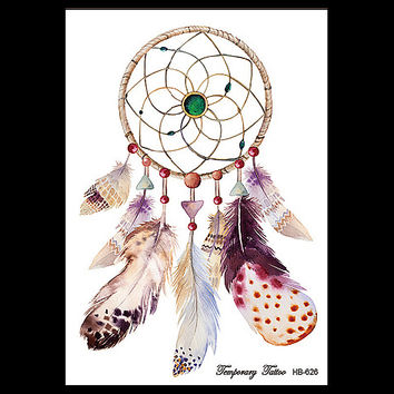1 Sheet Dreamcatcher Decal Waterproof DIY Tattoo Sticker Women Men Body Art HB626 Dream Catcher Indian Feather Temporary Tattoos