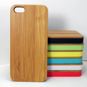 Bamboo Wood iPhone 5C Case. Eco-Friendly Sleek Natural Wood Grain Plain Cover Skin. Minimalist Post Modern Design Gift. FREE SHIPPING