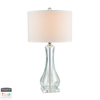 Flaired Glass Table Lamp in Translucent Light Green - with Philips Hue LED Bulb/Bridge