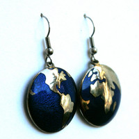 Vintage World Earrings Blue and Brass Tone Globe Map Fish Hook Earrings
