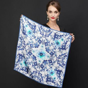 LMFU3C Hot Sale Brand Flowers Pattern Silk Scarves Wraps For Women 2016 Fashion Natural Pure Silk Shawl Square Mulberry Silk Scarf