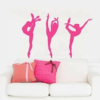 Wall Decal Vinyl Sticker Decals Art Home Decor Murals Decal Ballerina Acrobatics Girl Ballet Dancer Gymnastics Sport Jump Bedroom Dance Studio Kids Children Gift Nursery Dorm Bedroom AN204
