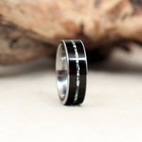 African Blackwood Wooden Ring with Mother Of Pearl Inlay Wood Ring Titanium Ring