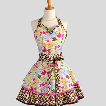 Sexy Retro Pinup Apron . Flirty and Cute Retro Womans Apron in Scattered Butterfly Leaves Sweetheart Apron and Vintage Style Full Skirt