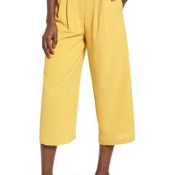 Chriselle x J.O.A. Pleat High Waist Crop Wide Leg Pants | Nordstrom