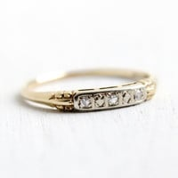 Antique 14k Yellow & White Gold Diamond Wedding Band Ring - Art Deco 1930s 1940s Decorative Shoulders Fine Jewelry