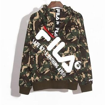 BAPE AAPE X FILA Trending Men Women Stylish Print Hooded Zipper Sweater Jacket Coat Camouflage