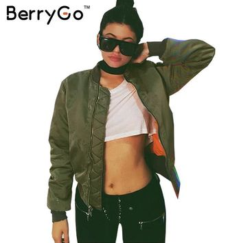 Trendy BerryGo Winter parkas Army Green bomber jacket Women coat cool basic down jacket Padded zipper chaquetas biker outwear AT_94_13