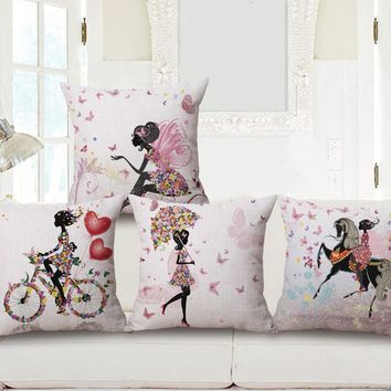 Girl Cushion Cover Flowers Fairy Princess Pink Love Throw Pillow Covers Flower Angel Pillowcase Linen Cotton Bedroom Decoration