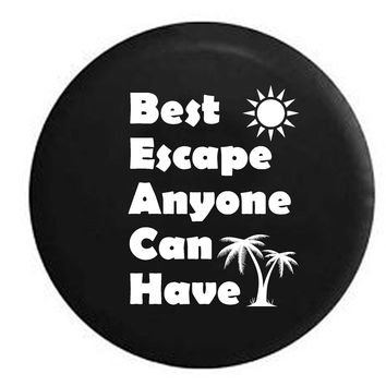 BEACH - Best Escape Anyone Can Have Palm Trees Sun RV Camper Jeep Spare Tire Cover