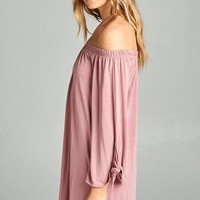 Autumn Off Shoulder Dress - Mauve