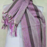 Beige and Fuchsia Scarf, Cotton Soft Men's Scarf, Beige and Fuchsia Soft Men's Scarf, Crinkly Cotton Men's Scarf - KR1410015