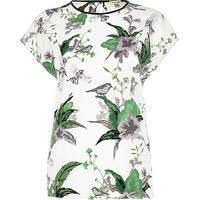River Island Womens White floral print t-shirt