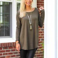 A Breath Away Tunic in Olive | Monday Dress Boutique