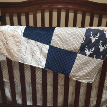 Baby Boy Crib Bedding - Navy Buck, Ecru Chevron, White Tan Arrows, Navy Minky, and Ivory Crushed Minky Crib Baby Bedding Ensemble