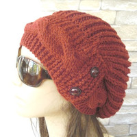 Womens Hat  Slouchy  Hat - Winter Hat  -  Rust Orange Beanie  - Slouchy Beanie   - Fall Fashion  Accessories - Winter Fashion  Accessories