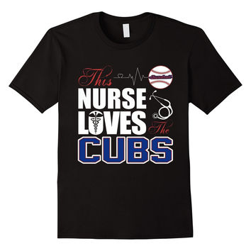 Womens Sports Gear Baseball Tshirt Nurse Loves Cubs