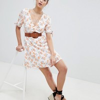Reclaimed Vintage Inspired Floral Plunge Neck Tea Dress at asos.com