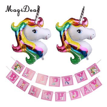 2pcs Large Magical Unicorn Foil Balloons Cute Pony Pink Bunting Banner Happy Birthday Party Hanging Decoration