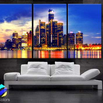 "LARGE 30""x 60"" 3 Panels Art Canvas Print beautiful Detroit Skyline Fullcolors Wall Home office decor  interior (Included framed 1.5"" depth)"