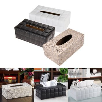 25X13.5X9.5cm Black/White/Gold Tissue Box Cover Durable Home/Car Desk Rectangle Leather Tissue Box/Napkin Holder