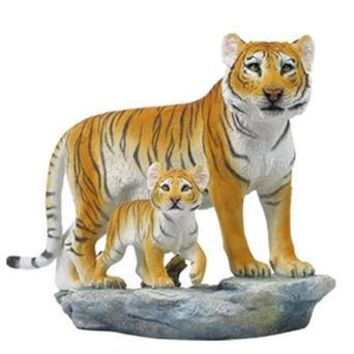 Mother Tigress with Baby Cub Statue