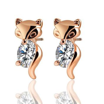 17KM Classic Animal Fox Stud Earrings