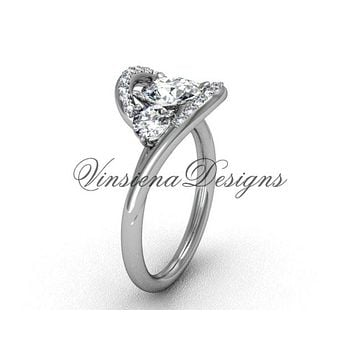 "Unique Platinum wedding ring, engagement ring, ""Forever One"" Moissanite VD8166"