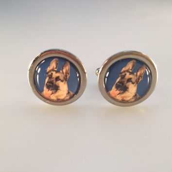 German Shepard Cufflinks, Police Dog Cufflinks, Dog Lover Cufflinks, Men's Cuff Links, Wedding Cuff Links, Father's Day, Graduation Gift